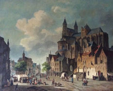 Unknown (20th century) - After Cornelis Springer - Cityscape of Montelspran, market square with figures and merchants