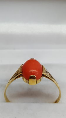 Yellow gold ring of 14 kt set with Mediterranean precious coral
