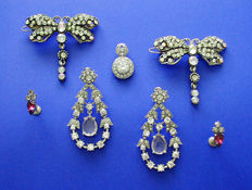 Gorgeous Large Vintage Crystal 'Monet' Earrings, Pendant, 'Dragonfly' Hair-Clips & 'Sherman Earrings