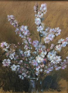 Unknown artist (20e eeuw) -  blooming almond tree