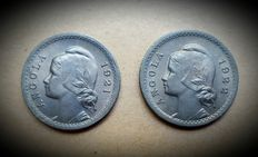Portuguese Angola/Republic – Consignment of 2 coins – 20 Centavos (pair) 1921 and 1922 – SUPERIOR CONDITION