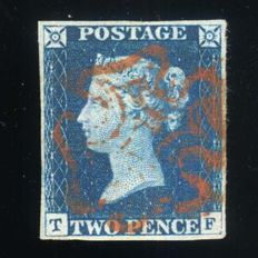 Great Britain Queen Victoria 1840 - 2d blue, Red Maltese Cross, 4 margins, with Certificate