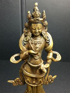 Standing Vajrasattva in patinated bronze - Nepal - second half of the 20th century