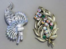 Signed Coro Pegasus, two brooches with Aurora Borealis – 1940s to 1950s