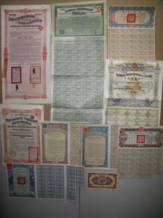 China:  Collection of   10  Chinese bonds (8 with coupons)