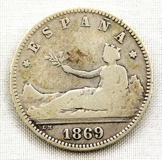 Spain – Provisional Government – 1 pesetas silver coin  1869. Madrid.