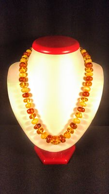 Baltic amber round-flat beads necklace, 41 grams