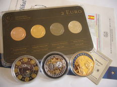 Espagne - 2 Euro 2014 (4 different plated coins) 'Precious Metal Set' + 3 gold plated medals