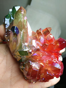 Red/green Aura Quartz Crystal - 108 x 72mm - 223gm