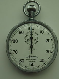 Minerva vintage Stopwatch 100 seconds 30 minutes 1950 Swiss Made