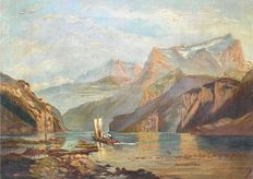 Scandinavian school (19th Century) - Sailing vessel travelling up a Norwegian Fiord
