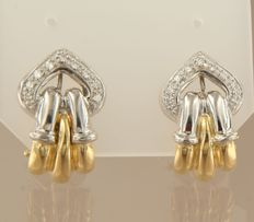 18 kt bi-colour gold clip-on earrings set with 18 brilliant cut diamonds, approx. 0.15 carat in total ****NO RESERVE****