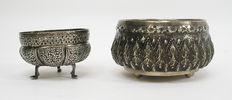 Two colonial Anglo-Indian silver bowls, c. 1900.
