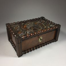 Elaborately carved mahogany document chest with coat of arms - ca. 1900