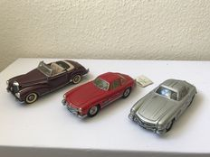 Franklin Mint - Scale 1/24 - Mercedes-Benz 1957 Convertible, Mercedes-Benz 1954 300SL & Mercedes-Benz 1954 300 SL