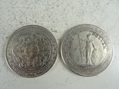 Two silver dollars – Hong Kong – 1911