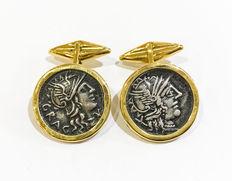 Gold cufflinks with authentic Roman coins: 2nd century A.D. Roman denari