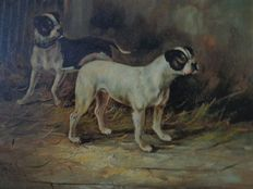 Arthur Hayes (19th century) - Two dogs (pugs)