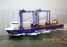 "Groot formaat foto ""Abis Shipping Arctic Dawn"" transportschip op volle zee"