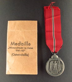 """Medal for Winter Battle in the East - """"Ostmedaille"""" - with Original Bestowal Bag, Manufacturer's Mark 3"""