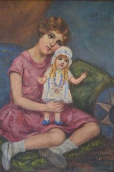 M. Inácia (20th century) - Little girl with doll oil on wood - 1929 Spain
