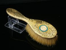 Silver Gilt & Turquoise Hair Brush, London 1859, Thomas William, Henry & Louis Dee, French Weevil Mark