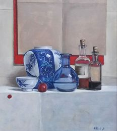 Ad Nent (1950-)-Ginger Jar still life, with bottles