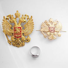 Russia military, silver ring