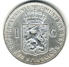 The Netherlands, 1 guilder 1905, Wilhelmina – silver