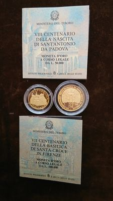 Italy, Republic – 50,000 and 100,000 lire 1995 – diptych with case – gold