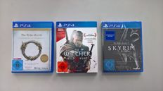 Lot of 3 PS4 - The Elder Scrolls Online , The Withcher Wildhunt and  The Elder Scrolls V Skyrim Special Edition