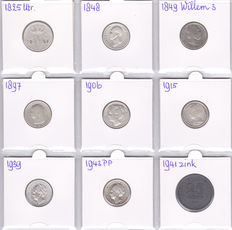 The Netherlands - 25 cents 1825 U, 1848, 1849 Willem III, 1897, 1906, 1915, 1939, 1943PP (all silver) and 1941 zinc