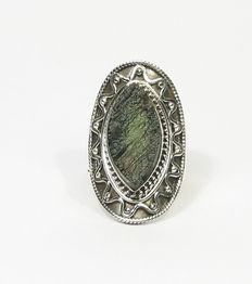 Moldavite Ring - 925 sterling silver - inner diameter 18.1 mm