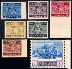 Republic of San Marino, 1945 – Postage due (6 unperforated stamps) + Landscapes + Unpublished