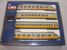 "Lima H0 - 149749 - BR403 class ""Donald Duck"" four car electric multiple unit in Lufthansa Airport Express livery"