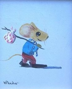 Henk Poeder (1964-) - little mouse with a knapsack