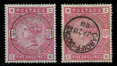 Great Britain 1883/1884 – Queen Victoria – 5 shilling pink Stanley Gibbons 176, blued paper pair