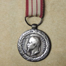 Silver French Napoleon III medal 1859