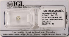 0.41 ct Loose Round Brilliant cut diamond  I   I1   ** No Reserve **