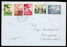"""German occupation of Serbia 1942 - """"airmail stamps 0.50D - 50 D"""" on 2 letter sets to Belgrade with arrival stamp - Michel 16/25"""