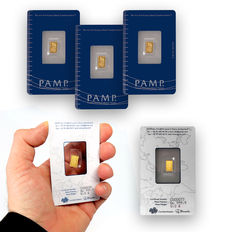 Switzerland - Pamp Suisse gold bar - 3 pieces - Fortuna - in blister with certificate - serial number - .999