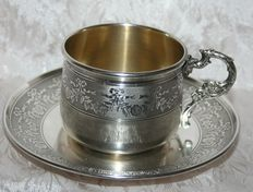 Beautiful sterling silver guilloché cup and saucer, minerva hallmark, silversmiths mark: initials GB . Guyot, Alphonse & Brulé, Jean (1878-1888)