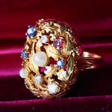 "Unique High-perforated quality Cocktail Ring ""Vegetable"" two natural pearls, natual faceted Sapphires, natural Ruby and diamonds. Excellent state."