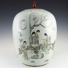 Large hand painted jar with Court Ladies and calligraphy - China - early 20th century (republic period)