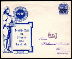 German occupation 'WWI 1916 'postal area East and Belgium'. Batch of postal stationary