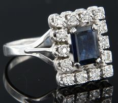 18k white gold ring set with a central carre cut sapphire of in total approx. 1.55 carat and 14 single cut diamonds of in total approx. 0.21 carat ***NO RESERVE PRICE***