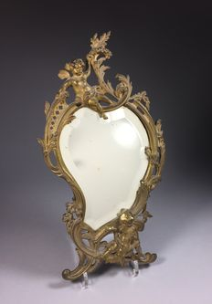 Facet cut mirror in gold-plated brass frame - France - ca. 1900