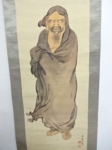 Scroll painting of Bodhidharma, hand-painted on silk - Japan - mid 20th century