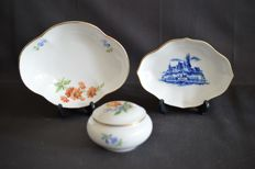 Meissen- 3 items - 2 dishes - 1 box with lid -