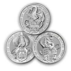 Großbritannien - 3 x 5 Pounds - The Queens Beasts Löwe 2016 + The Griffin Greif 2017 - The Dragon of Wales - 3 x 2 oz 999 Silbermünze